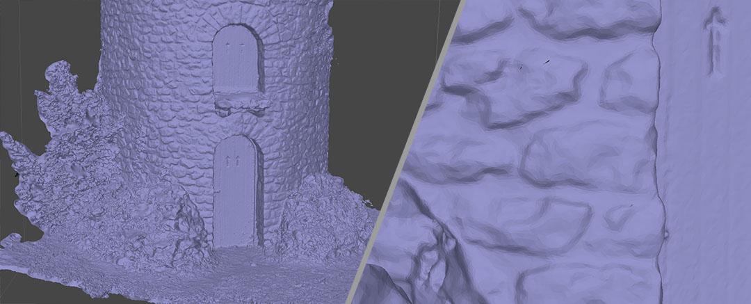 Visualisation du maillage d'un scan 3D d'un bâtiment