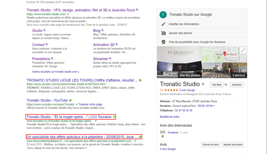 Recherche google tronatic studio
