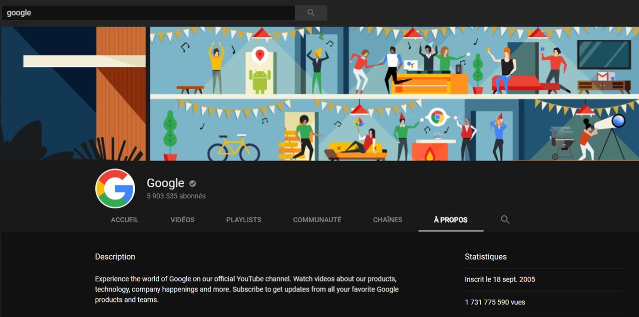 Profil de Google sur Youtube