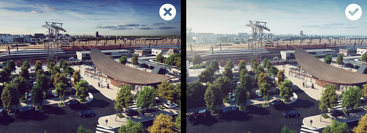 Différence d'atmosphère 3D dans deux images
