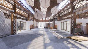 Visuel architectural (Archviz) de la réhabilitation d'une usine dans la ville de Vierzon