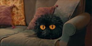 Le Petit Monstre sur canapé gris coussins