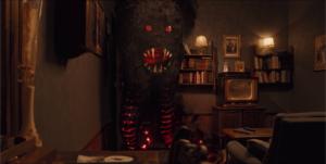 Le petit monstre - Gros monstre en colère salon télévision canapé livres étagères