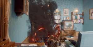 Le petit monstre - Gros monstre en colère lumière salon télévision canapé livres tableaux