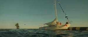 Bateau, océan, explosion faite par le drone