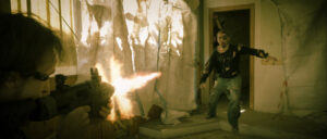 Coup de feu par Kirk sur un infecté