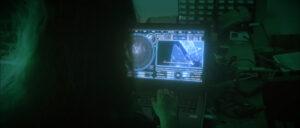 Vue sur l'ordinateur de Abby joué par Gaëlle Ireson, incrustation d'images grâce aux effets spéciaux