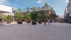 Les Halles CGI passants, rue pavées, commerçants, arbres, verdures