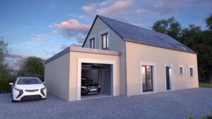 Vue extérieur d'une maison, garage ouvert (CGI)