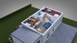 Vue découpé de l'étage, trois chambres, salle de vain et escalier