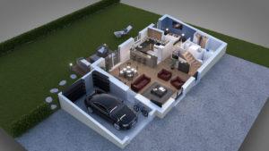 Vue découpé de la maison, rez-de-chaussée, garage avec voiture, salon, cuisine, salle de bain, toilettes, chambre