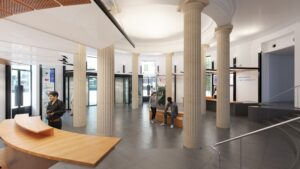 Réalisation CGI du musée Guimet - intégration de visiteurs dans une salle spacieuse aux multiples colonnes