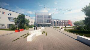 Visuels photoréalistes 3D du lycée Maurice Genevoix réalisés par Tronatic Studio pour leur client L'Heudé et associés. Vue extérieur du bâtiment scolaire