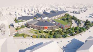 Visuels photoréalistes 3D du lycée Maurice Genevoix réalisés par Tronatic Studio pour leur client L'Heudé et associés. Vue hauteur du lycée.