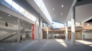 Visuels photoréalistes 3D du lycée Maurice Genevoix réalisés par Tronatic Studio pour leur client L'Heudé et associés. Vue intérieur du bâtiment scolaire