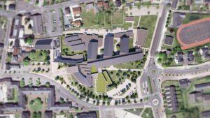 Visuels photoréalistes 3D du lycée Maurice Genevoix réalisés par Tronatic Studio pour leur client L'Heudé et associés.
