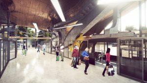 Modélisation 3D de hall du téléphérique d'Orléans, avec intégration de passants, bâtiment en bois et métal