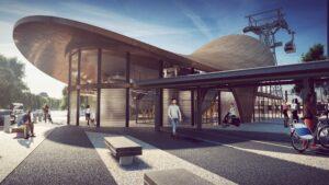 Modélisation 3D de hall du téléphérique d'Orléans, avec intégration de passants, bâtiment en bois et métal, bancs extérieur