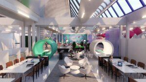 Espace Public MAME photoréaliste intégration de décor, visiteurs