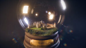 Reproduction 3D du château de Bannegon dans une boule à neige