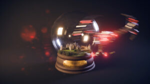 Reproduction 3D du château de Bannegon dans une boule à neige, un vaisseau passe devant