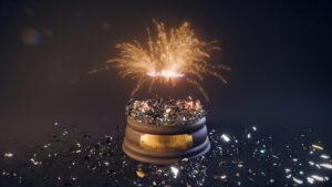 Explosion totale de la paroi en verre de la boule de neige, feux d'artifices