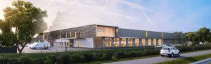 Caserne Gironde, vue extérieur du bâtiment - CGI et Archviz