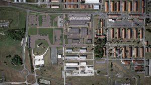 Vue aérienne du bâtiment de la caserne Sissonne - Visuels architecturaux 3D réalisés par Tronatic Studio Tours